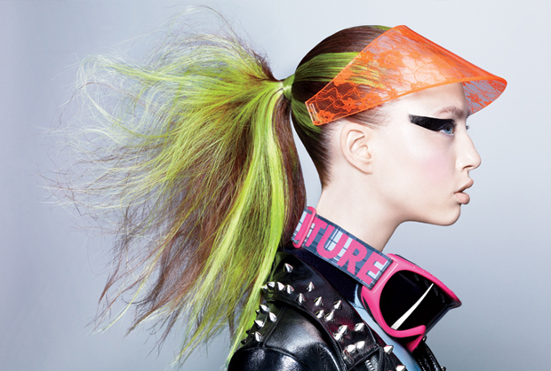 Fashion hairstylist in a fantastic wacky shoot for teen vogue