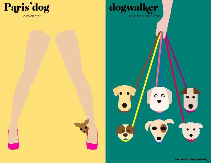 Paris vs New York graphic design posters dog walk