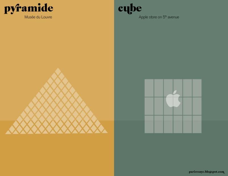 Paris vs New York graphic design posters apple store