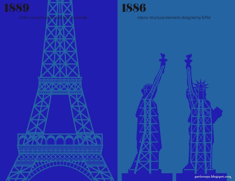 Paris vs New York graphic design posters effiel