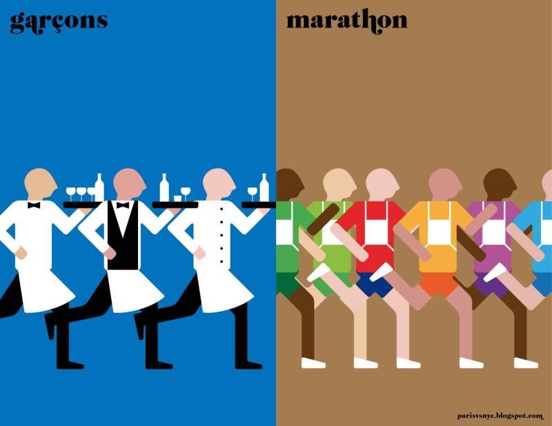 Paris vs New York graphic design posters garçons marathon