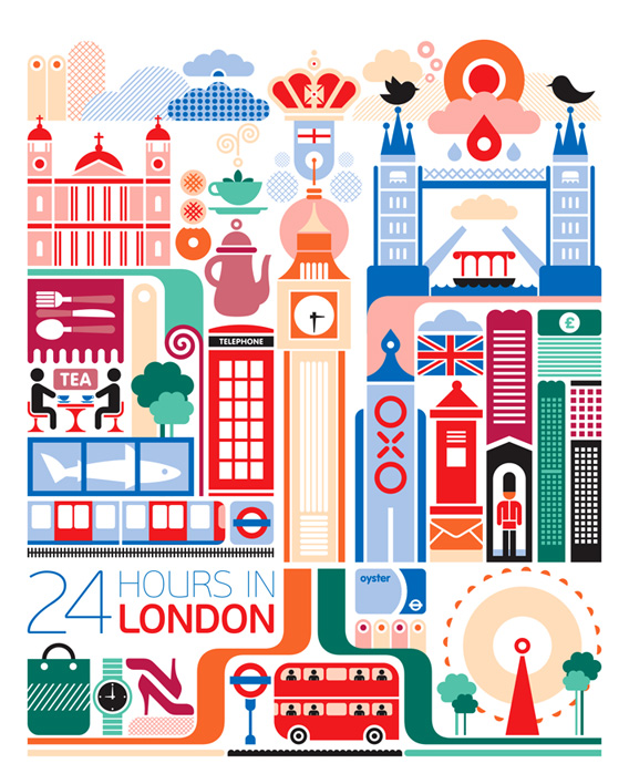 fernando volken togni 24 hours in london travel poster