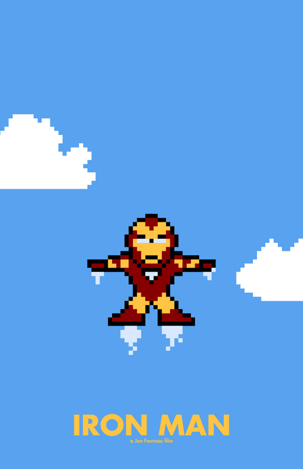 8 bit movie poster  iron man