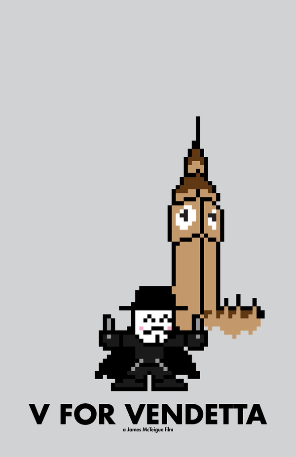 8 bit movie poster v for vendetta