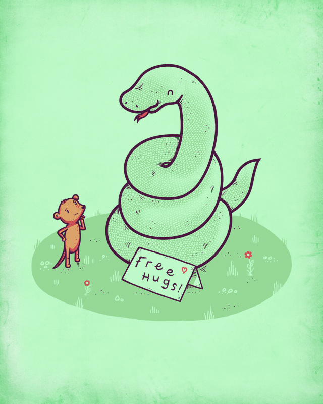 cool funny graphic design  snake free hugs