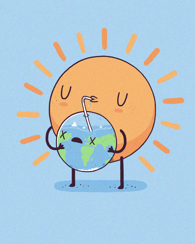 cool funny graphic design  sun drinking earth