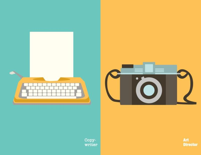 Copywriter vs. Art Director clever illustrations