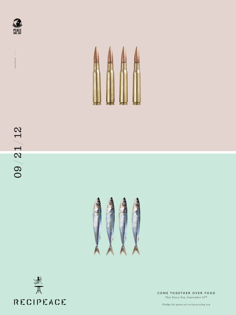 recipeace creative advertising - food war guns -  bullet sardine