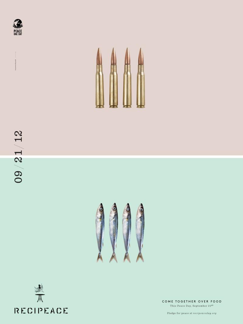 recipeace creative advertising - food war guns -  bullet sardine