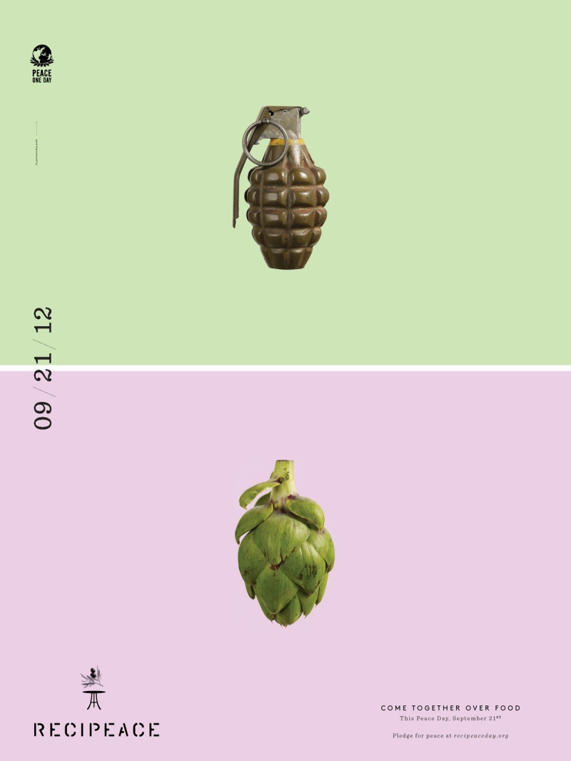 recipeace creative advertising - food war guns - granade artichoke