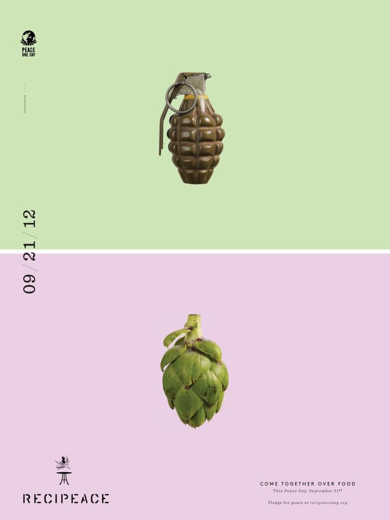 recipeace creative advertising - food war guns - granade artichoke
