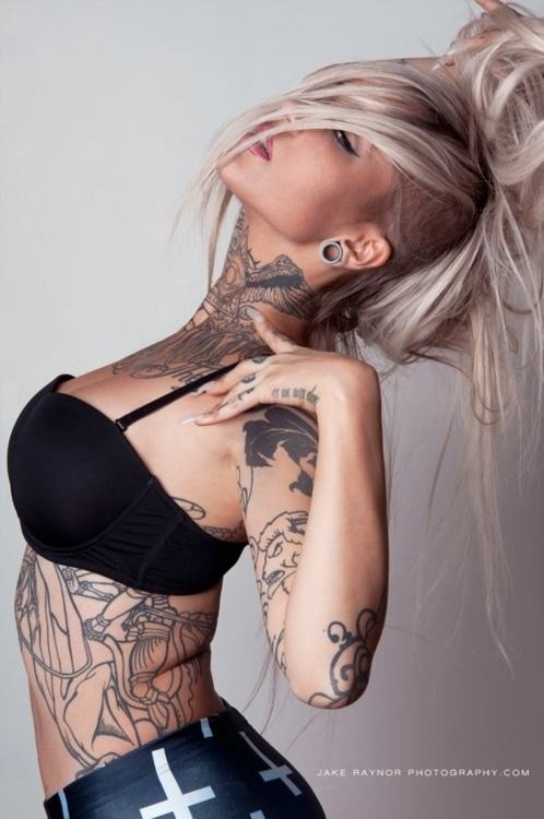 sexy inked girls tattoos tatts - chicquero - neck and body tattoo