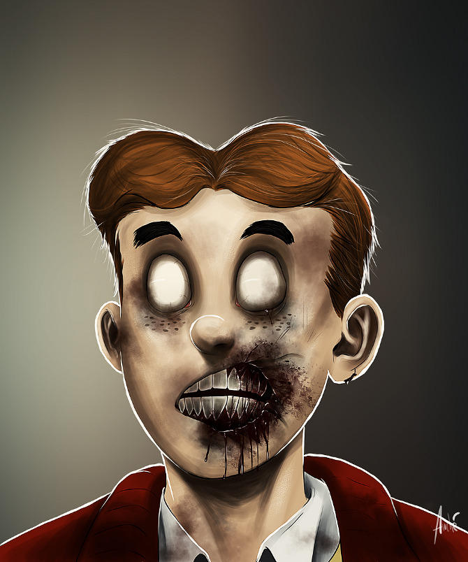 zombie portraits - halloween costume illustration  - archie