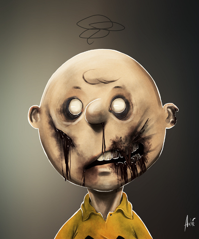 zombie portraits - halloween costume illustration - Charlie brown