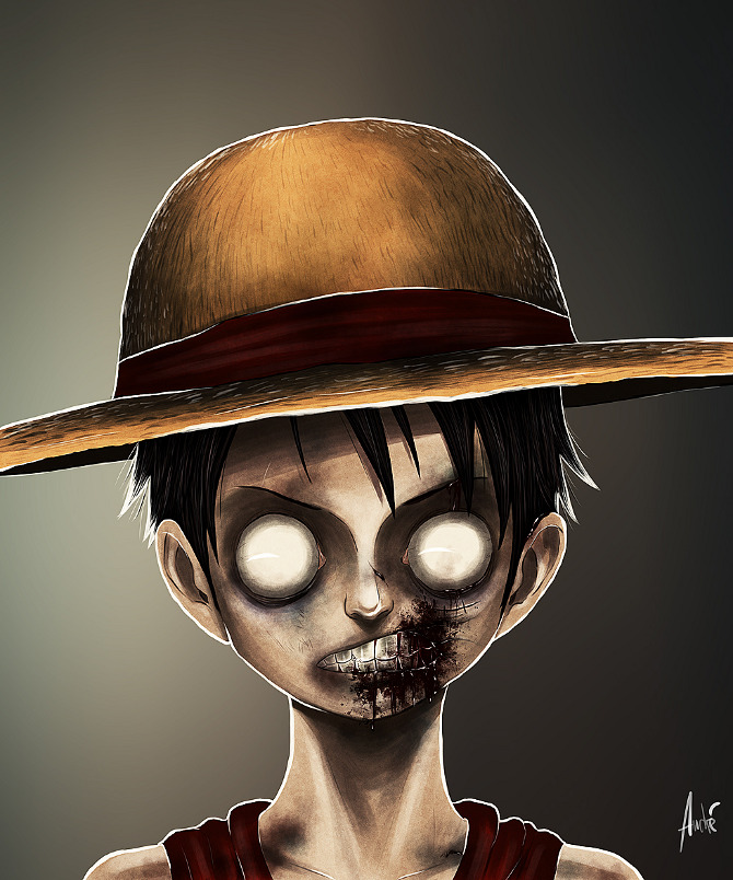 zombie portraits - halloween costume illustration - luffy