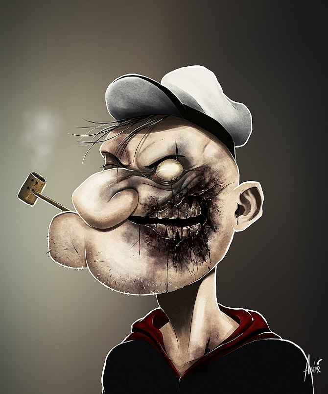 zombie portraits - halloween costume illustration  - popeye