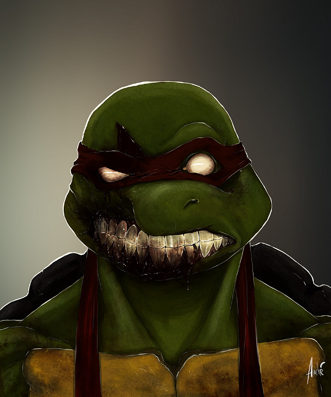 zombie portraits - halloween costume illustration - raph mutant ninja turtles