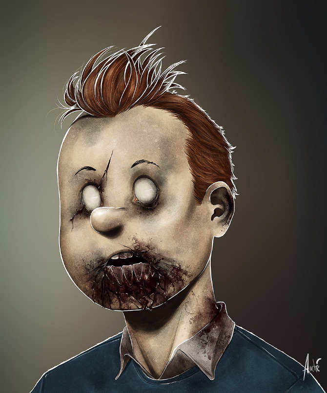 zombie portraits - halloween costume illustration - TinTin