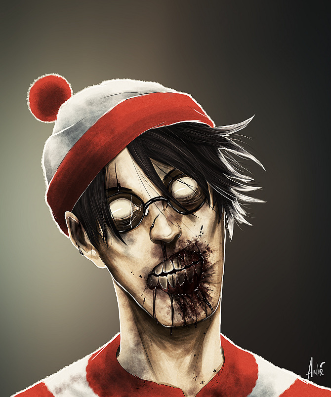 zombie portraits - halloween costume illustration  - waldo wally