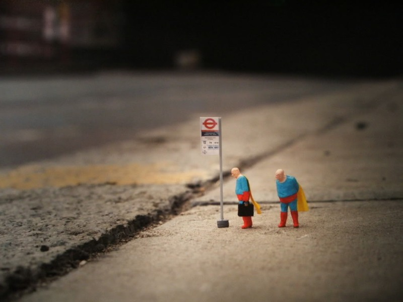 Little people project - cool miniature art -  bus stop