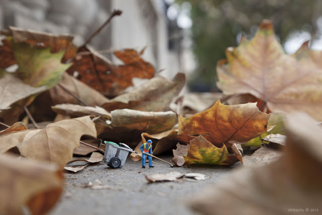 Little people project - cool miniature art -  dead leaves cleaning
