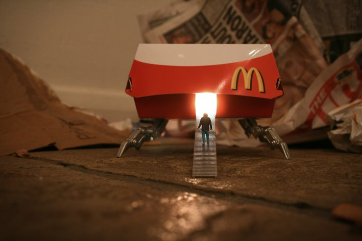 Little people project - cool miniature art -  mc donalds spaceship