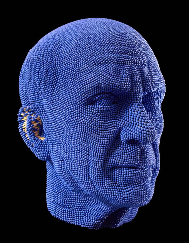 Matcheads by David Mach - Matches art - Blue man
