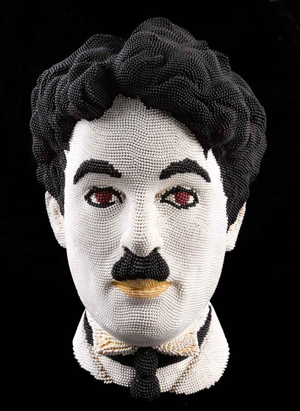 Matcheads by David Mach - Matches art - Charles Chaplin