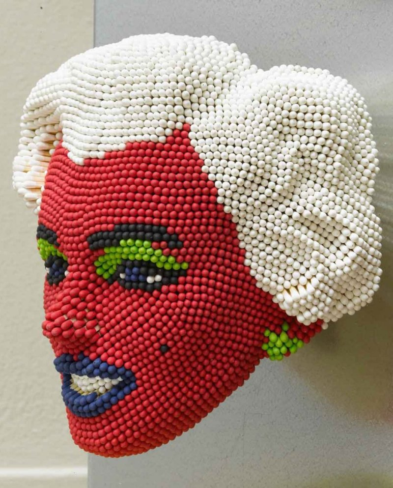 Matcheads by David Mach - Matches art  Marilyn Monroe red