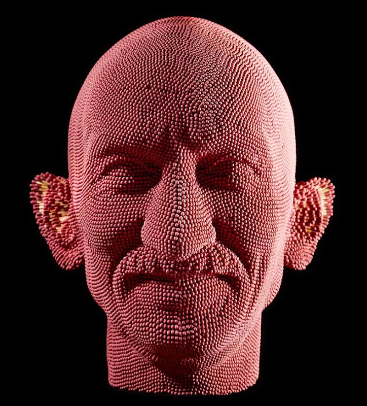 Matcheads by David Mach - Matches art - Red old man