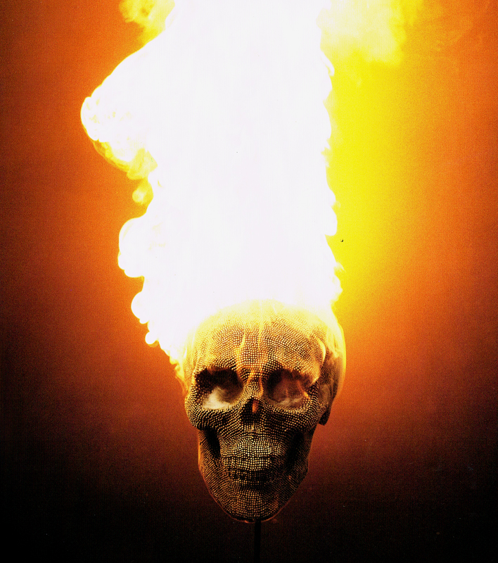 Matcheads by David Mach - Matches art -  Skull on fire
