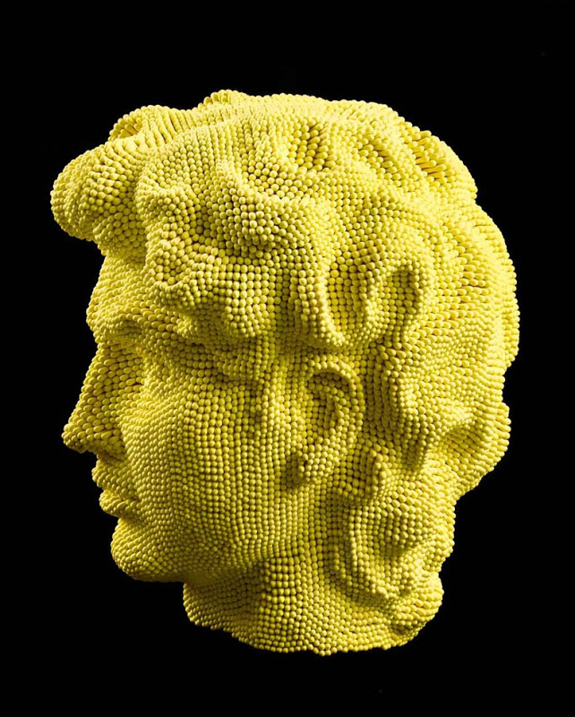 Matcheads by David Mach - Matches art - - yellow profile