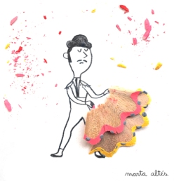 Pencil shavings artwork - Marta Altes - Chicquero Artsy - bullfighter