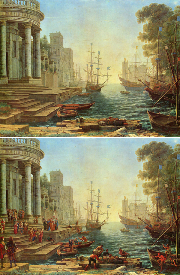 Abandoned paintings - Chicquero arts - Claude Lorrain %22Seaport with the embarkation of St. Ursula%22 1641