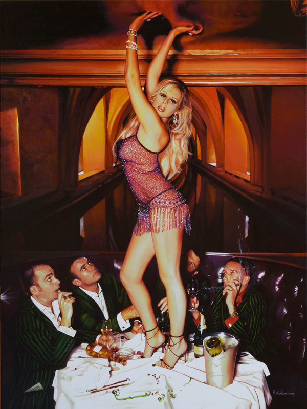 Tos kostermans realistic funny paintings - Chicquero Arts - Bachelor Party