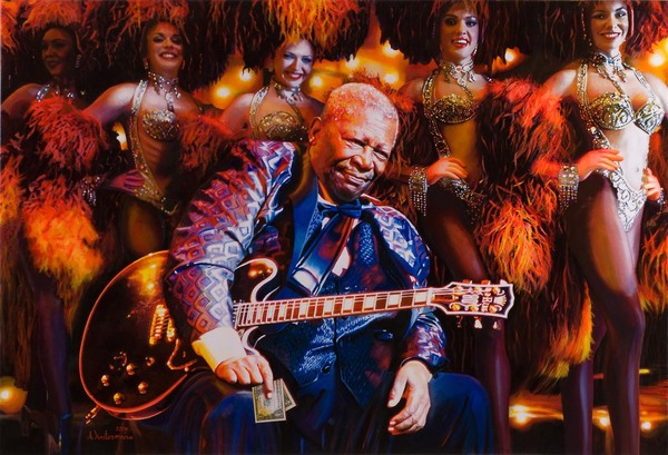 Tos kostermans realistic funny paintings - Chicquero Arts - BB king showgirls