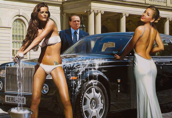 Tos kostermans realistic funny paintings - Chicquero Arts - Berlusconi topmodels cars