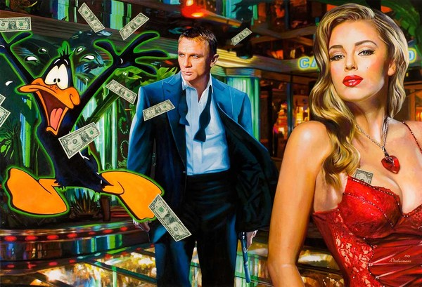 Tos kostermans realistic funny paintings - Chicquero Arts - Casino Royale 007