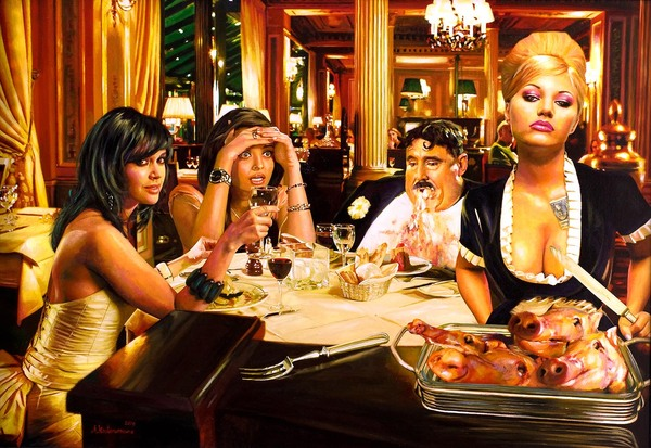 Tos kostermans realistic funny paintings - Chicquero Arts - Dinner Pig
