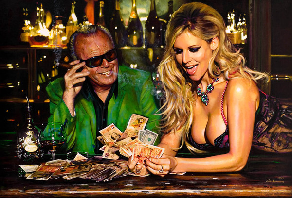 Tos kostermans realistic funny paintings - Chicquero Arts - Jack Nickolson money