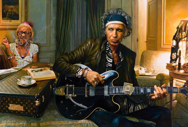 Tos kostermans realistic funny paintings - Chicquero Arts - Keith and Old Groupie