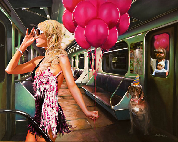 Tos kostermans realistic funny paintings - Chicquero Arts - Paris Hilton subway