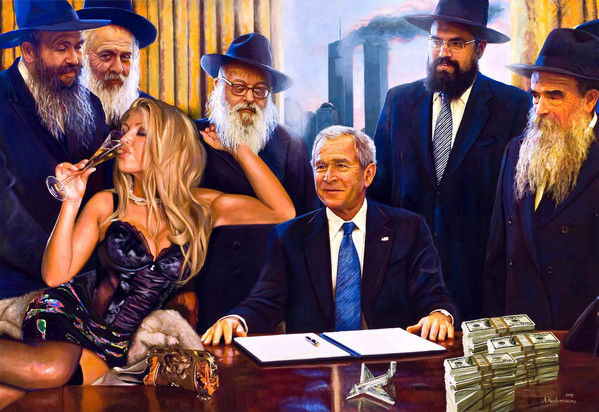 Tos kostermans realistic funny paintings - Chicquero Arts - President Bush