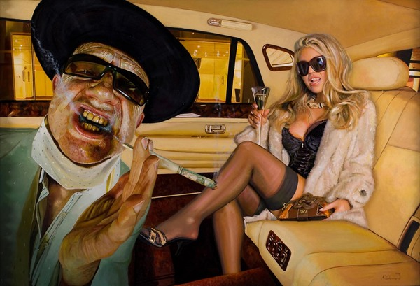 Tos kostermans realistic funny paintings - Chicquero Arts - Smoking dollars