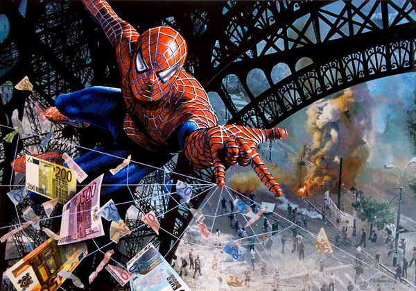 Tos kostermans realistic funny paintings - Chicquero Arts - Spiderman Euro crisis in Paris