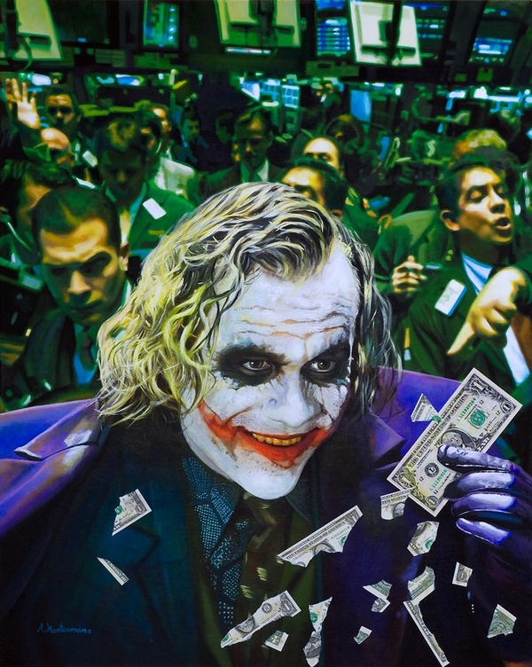 Tos kostermans realistic funny paintings - Chicquero Arts - The Joker Chaos at the stock Market