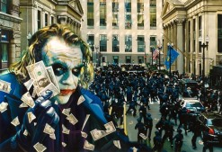 Tos kostermans realistic funny paintings - Chicquero Arts - The Joker Chaos at Wallstreet