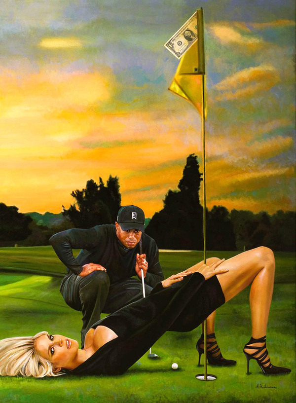 Tos kostermans realistic funny paintings - Chicquero Arts - Tiger woods making the hole