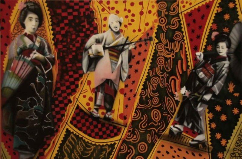 Eduardo Kobra painter - urban street art chicquero -  Mural Brazil 30 gueixas-100x150-mista