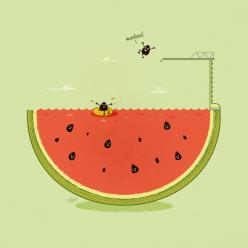 2 Funny Cool Illustrations Chicquero watermellow